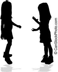 arrière-plan., girl, vecteur, silhouette, blanc