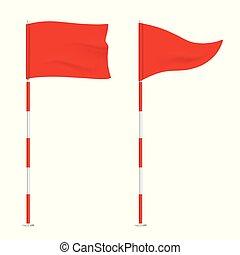 arrière-plan., golf, isolé, rouges, drapeaux