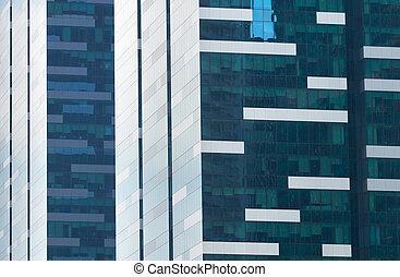 arrière-plan., gratte-ciel, business, singapour