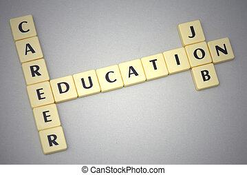 arrière-plan gris, carrière, education, métier, mots