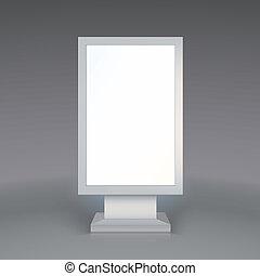 arrière-plan gris, numérique, publicité, signage., vide, ...