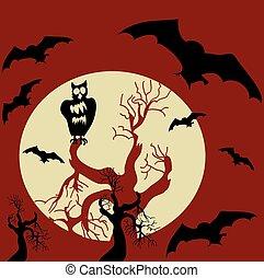 arrière-plan., halloween, vecteur, effrayant