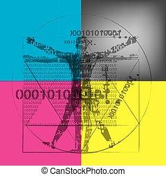 arrière-plan., homme, vitruvian, binaire, codes, cmyk, ...