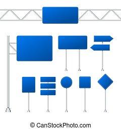 arrière-plan., illustration, bleu, route, ensemble, transparent, signes, isolé, vecteur, stockage