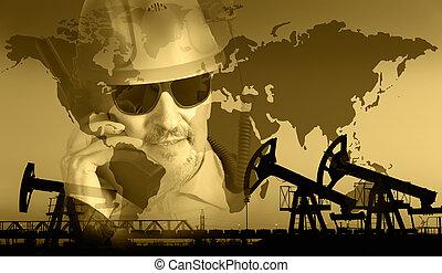 arrière-plan., industrie, huile, essence