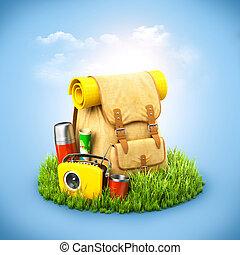 arrière-plan., inhabituel, radio, termos, herbe, fond, voyage, carte, sac à dos, bleu