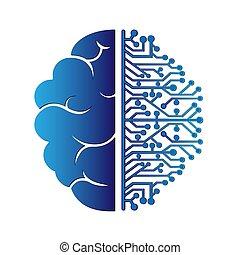 arrière-plan., intelligence., brain., droit, vecteur, hémisphère, gauche, stockage, blanc, isolé, illustration, artificiel