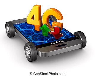 arrière-plan., isolé, illustration, téléphone, 4g, blanc, 3d
