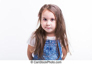 arrière-plan., jean, blanc, isolé, overalls., enfant, sourire, adorable, girl, gosse