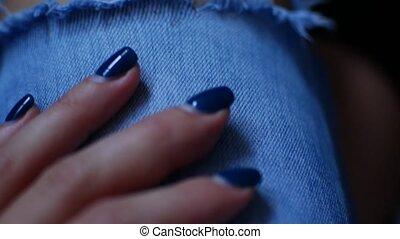 arrière-plan., jean, femme, genoux, mains
