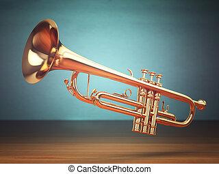 arrière-plan., laiton, poli, vert, trompette