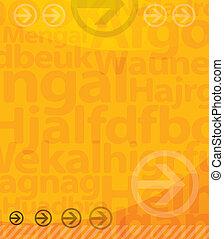 arrière-plan., lettres, jaune