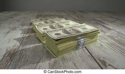arrière-plan., lot, nous, bois, dollars