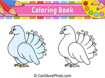 arrière-plan., mariage, kids., coloration, illustration., character., silhouette., noir, contour, blanc, dessin animé, isolé, vecteur, livre, pigeon.