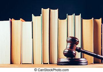 arrière-plan., marteau, noir, livres, tribunal