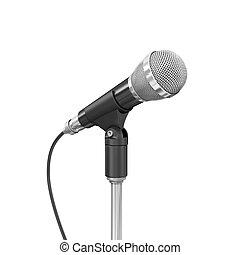arrière-plan., microphone, blanc