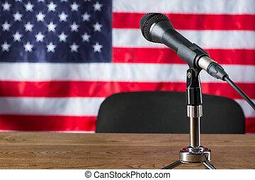 arrière-plan., microphone, drapeau, usa