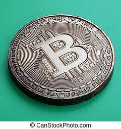 arrière-plan., modèle, produit, monnaie, bitcoin, chocolat, plastique, comestible, crypto, vert, physique, mensonges, formulaire