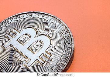 arrière-plan., modèle, produit, monnaie, bitcoin, chocolat, plastique, comestible, orange, crypto, physique, mensonges, formulaire