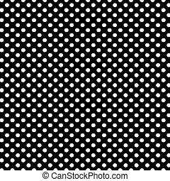 arrière-plan noir, à, blanc, points polka, modèle