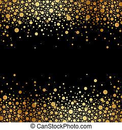 arrière-plan noir, à, or, neige