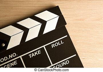 arrière-plan noir, battant, film, vue, sommet, bois