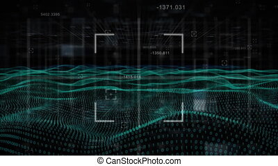 arrière-plan noir, carrée, données, signe, contre, balayage...