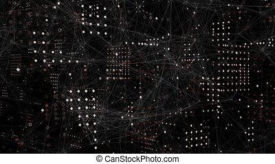 arrière-plan noir, contre, toile, connexions, carrés