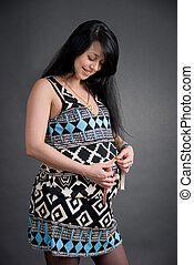 arrière-plan noir, femme, pregnant