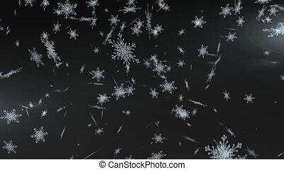 arrière-plan noir, flocons neige, tomber, contre