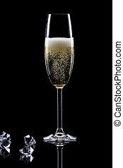 arrière-plan noir, isolé, verre, champagne