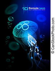 arrière-plan noir, méduse