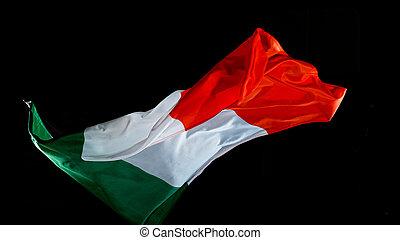 arrière-plan noir, onduler, drapeau italie