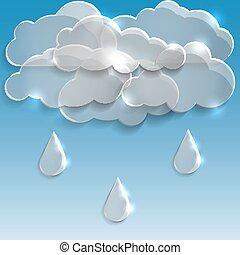 arrière-plan., nuages, rain., verre, printemps