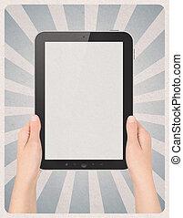 arrière-plan numérique, retro, tablette, mains