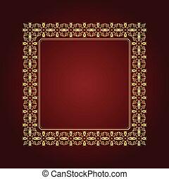 arrière-plan., or, ornement, brun