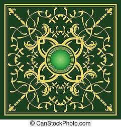 arrière-plan., or, ornement, vert