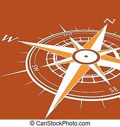 arrière-plan orange, compas