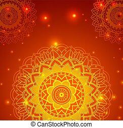 arrière-plan orange, mandalas, conception