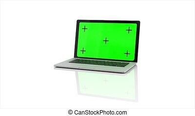 arrière-plan., ordinateur portable, channel., 4k, vert, 3d animation, ouverture, rendre, écran, alpha, blanc, moderne