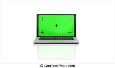 arrière-plan., ordinateur portable, channel., 4k, vert, 3d animation, rendre, écran, alpha, blanc, moderne, apparaît