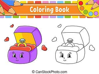 arrière-plan., ouvert, coloration, illustration., silhouette., character., noir, vecteur, contour, blanc, ring., or, dessin animé, isolé, boîte, kids., livre