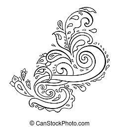arrière-plan., paisley, ornament., main, dessiné