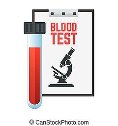 arrière-plan., panneau, essai, sanguine, microscope, tube