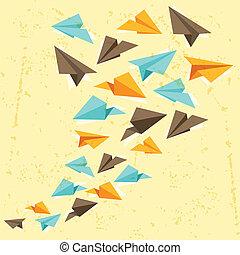 arrière-plan., papier, grunge, illustration, avions