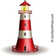 arrière-plan., phare, blanc, isolé, rouges