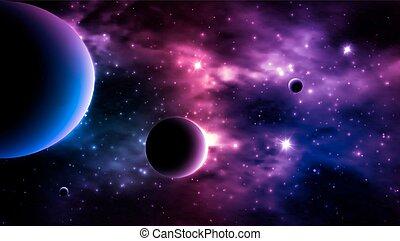 arrière-plan., photorealistic, vecteur, galaxie
