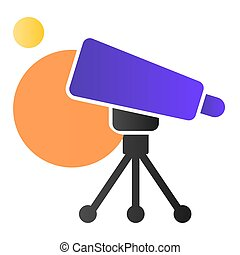 arrière-plan., plat, astromomie, conception, icon., espace, concept, recherche, pictogramme, gradient, style, planètes, vecteur, equipment., télescope, blanc
