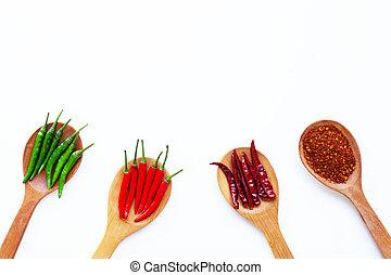 arrière-plan., poivre, blanc, piment, chaud