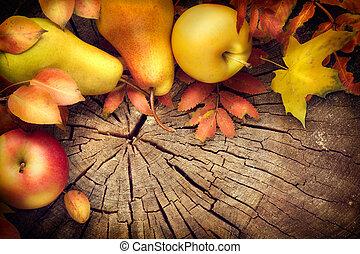 arrière-plan., pommes, poires, feuilles, cadre, coloré, thanksgiving
